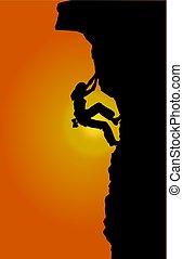 Free climbing - Silhouette of a woman climbing