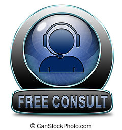 free consult icon or help and information desk button...
