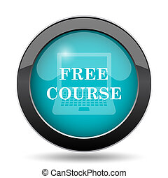 Free course icon. Free course website button on white background.