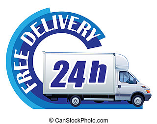 Free delivery ? 24h - White delivery truck in a sign free...