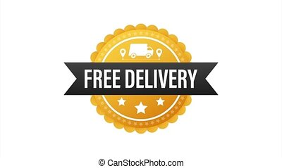 Free delivery. Badge with truck. Price tag. stock illustrtaion
