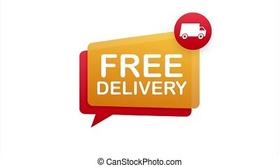 Free delivery. Badge with truck. stock illustrtaion