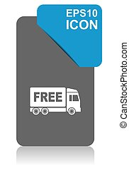 Free delivery black and blue vector pointer icon on white ...