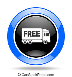 free delivery blue and black web glossy round icon