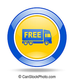 free delivery blue and yellow web glossy round icon