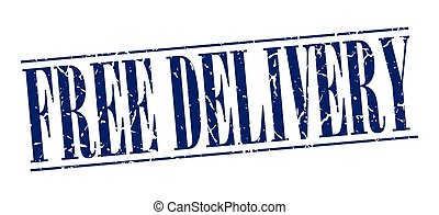 free delivery blue grunge vintage stamp isolated on white background
