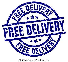free delivery blue round grunge stamp