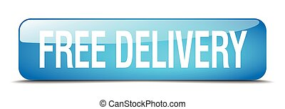 free delivery blue square 3d realistic isolated web button