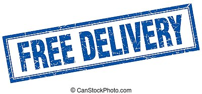 free delivery blue square grunge stamp on white