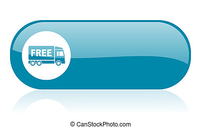 free delivery blue web glossy icon