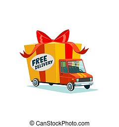 Free delivery concept. Delivery truck with gift box, parcel. Delivery service. Shipping by car or truck. Flat style design truck icon.