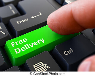 Free Delivery Concept. Person Click Keyboard Button. - Free ...