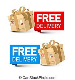 Free Delivery Concept with Packages. Vector Paper Boxes Isolatd on White Background.