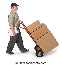 Free Delivery - Delivery man pushing hand truck with boxes,...