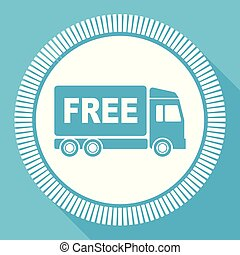 Free delivery editable flat vector icon, truck square web button, blue computer and smartphone application sign in eps 10