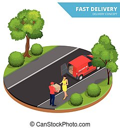 Free delivery, Fast delivery, Home delivery, Free shipping, 24 hour delivery, Delivery Concept, Express Delivery, delivery man. Flat 3d vector isometric illustration