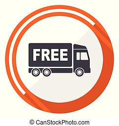 Free delivery flat design vector web icon. Round orange internet button isolated on white background.