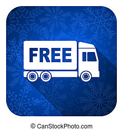 free delivery flat icon, christmas button, transport sign