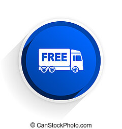 free delivery flat icon with shadow on white background, blue modern design web element