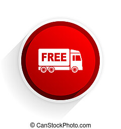 free delivery flat icon with shadow on white background, red modern design web element
