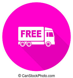 free delivery flat pink icon