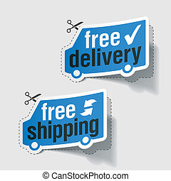 Free delivery, free shipping labels - Vector illustration of...