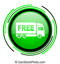 free delivery green circle glossy icon