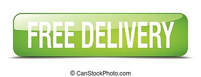 free delivery green square 3d realistic isolated web button