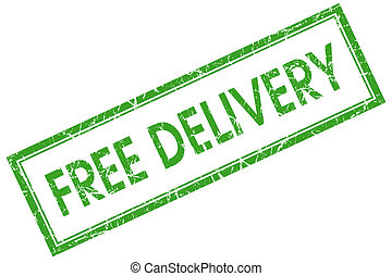 free delivery green square stamp