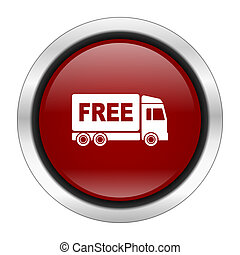 free delivery icon, red round button isolated on white background, web design illustration