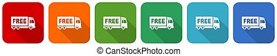 Free delivery icon set, flat design vector illustration in 6...