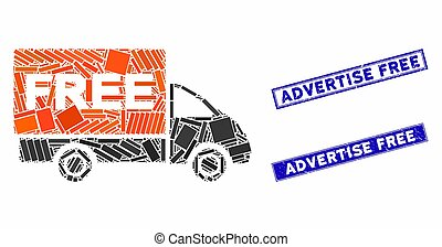 Free Delivery Mosaic and Distress Rectangle Advertise Free Stamp Seals