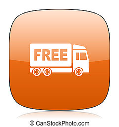 free delivery orange square web design glossy icon
