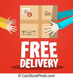 Free Delivery. Paper Box with Hands on Red Background.
