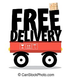 Free Delivery. Parcel and Title on Vehicle Isolated on White Background. Vector.