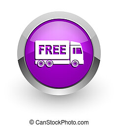 free delivery pink glossy web icon