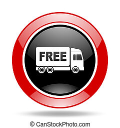free delivery red and black web glossy round icon