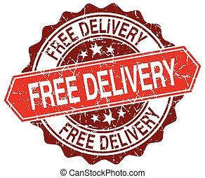 free delivery red round grunge stamp on white