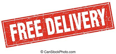 free delivery red square grunge stamp on white