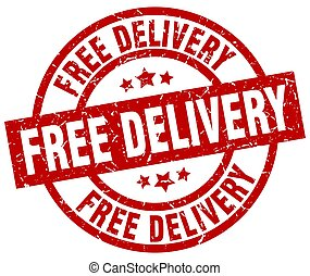 free delivery round red grunge stamp