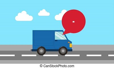 free delivery service - blue truck in street with package...