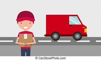 free delivery service - delivery red truck and man holds box