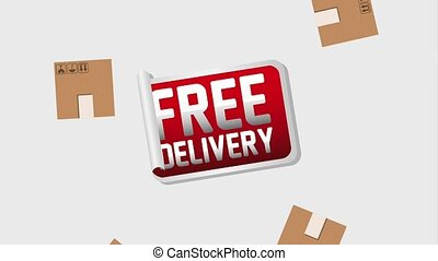 free delivery service - free delivery sticker and falling...