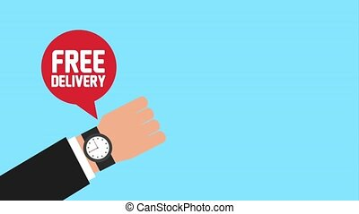 free delivery service - hand with wrist watch bubble with...