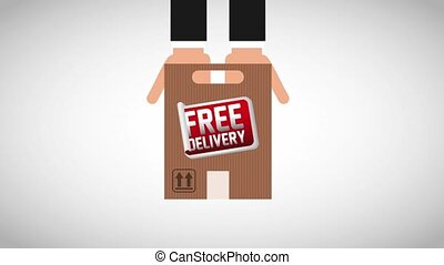 free delivery service - hands with envelope carton free...