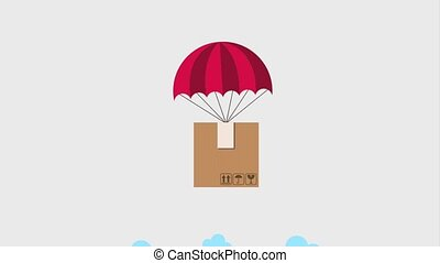 free delivery service - parachute flying package in sky free...