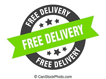 free delivery sign. free delivery black-green round ribbon sticker