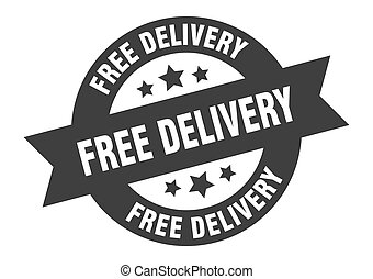 free delivery sign. free delivery black round ribbon sticker