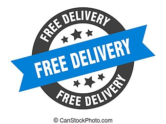 free delivery sign. free delivery blue-black round ribbon sticker