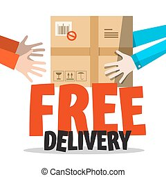 Free Delivery Symbol with Parcel in Human Hands. Vector.